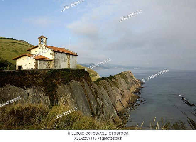 Zumaya flysch and hermitage of San Telmo, Basque Country, Spain, Guipuzcoa