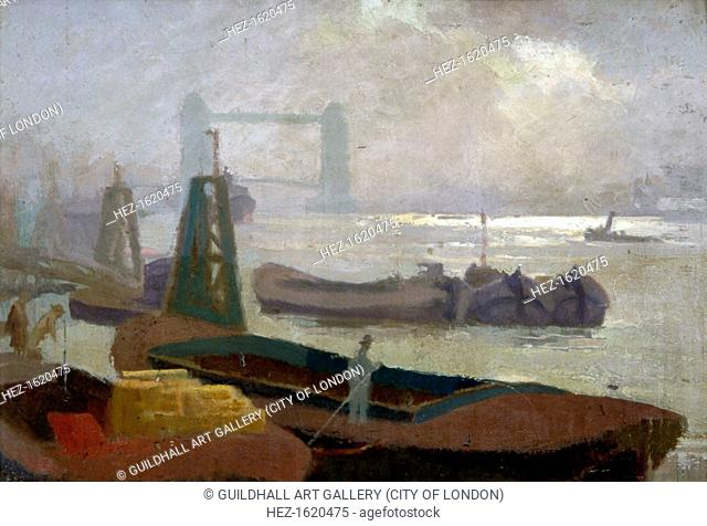 'Near Brewers' Quay', c1930. View showing figures on barges in the foreground and Tower Bridge in the distance