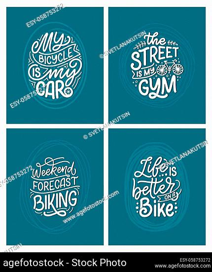 Set woth lettering slogans about bicycle for poster, print and t shirt design. Save nature quotes. Vector vintage illustration