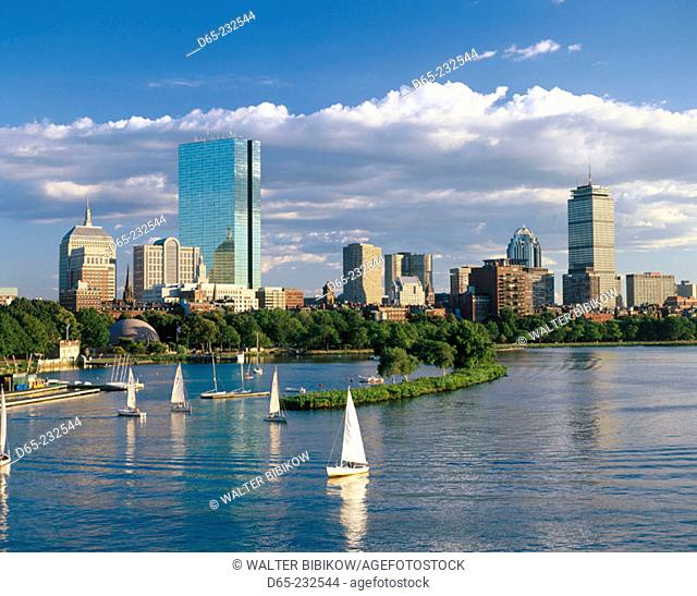 Skyline view of Back Bay in Boston. Massachusetts. USA