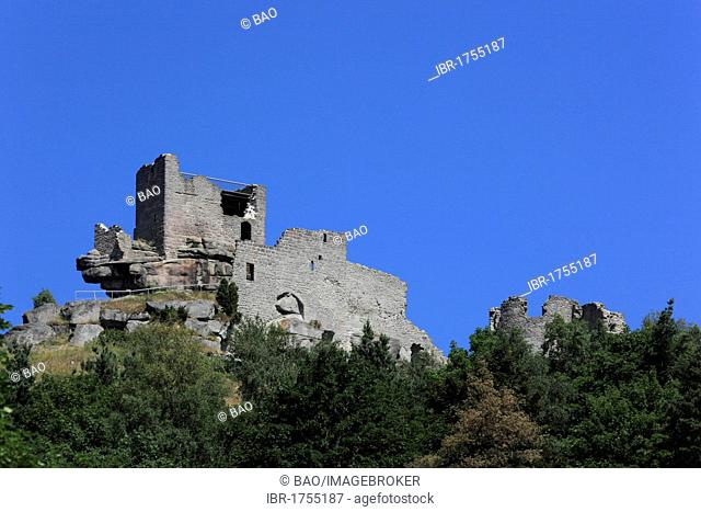 Ruins of the Hohenstaufen Fortress in Flossenbuerg, district of Neustadt an der Waldnaab, Upper Palatinate, Bavaria, Germany, Europe