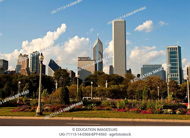 Illinois, Chicago Skyline from Congress and Colombus, Heritage Tower, Aon Center, Two Prudential Plaza, Smurfit-Stone Building