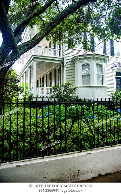 Historic home in Charleston South Carolina with iron fence and garden in the foreground
