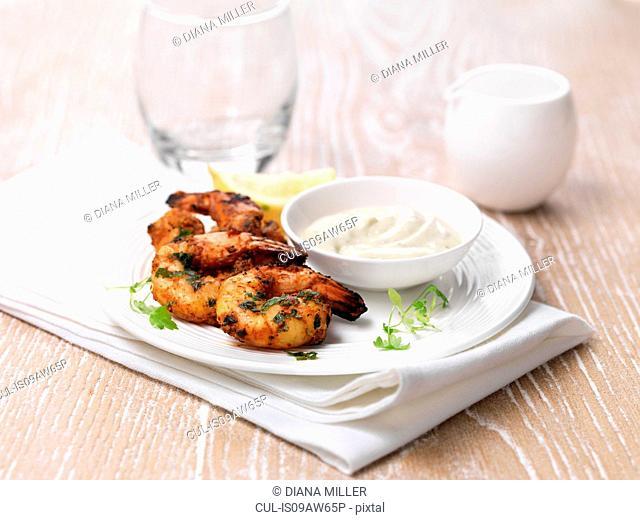 Tandoori king prawns and dips
