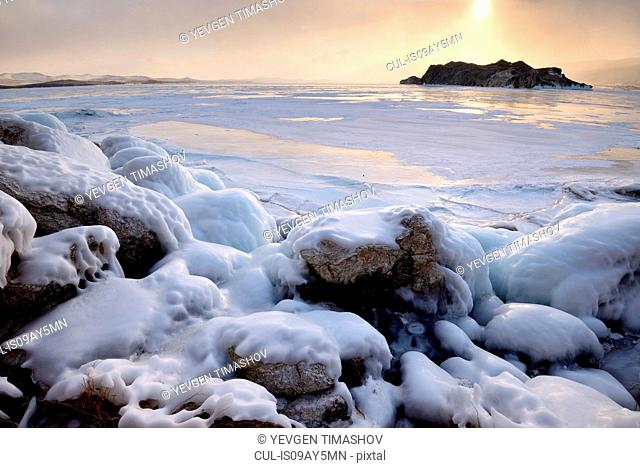 Oltrek Island at sunset, Baikal Lake, Olkhon Island, Siberia, Russia