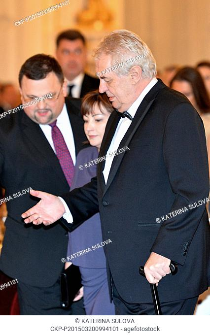 Czech President Milos Zeman (pictured) and First Lady Ivana Zemanova (not pictured) host a charity ball in the Spanish Hall at Prague Castle