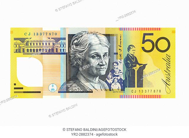 Australian fifty dollar banknote on a white background