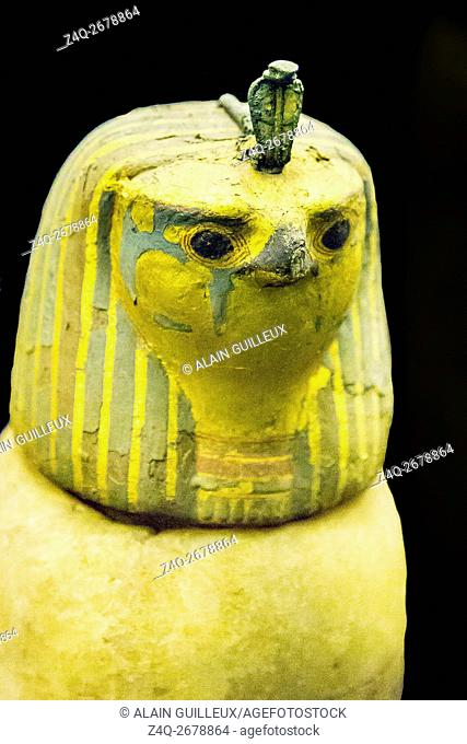 Egypt, Cairo, Egyptian Museum, found in the royal necropolis of Tanis, 1 of the 4 canopic vases of the king Psusennes. The plug is a hawk head