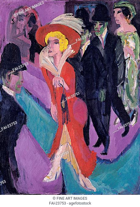 Street With Red Streetwalker. Kirchner, Ernst Ludwig (1880-1938). Oil on canvas. Expressionism. 1914-1925. Germany. Thyssen-Bornemisza Collections