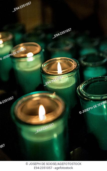 Votive candles in the church Notre Dame de Quebec in Quebec City, Canada