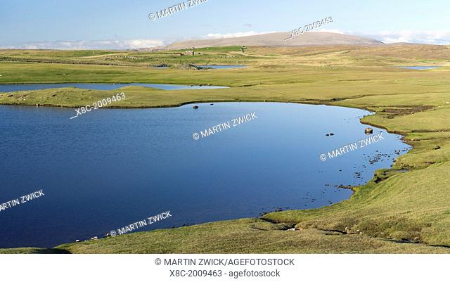 Landscape in Northmavine with Ronas Hill, the highest mountain in Shetland. europe, central europe, northern europe, united kingdom, great britain, scotland