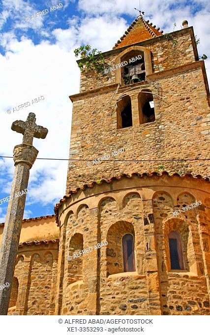 cross and parish church, Sant Gregori, Vall de Llémena, Girona, Catalonia, Spain