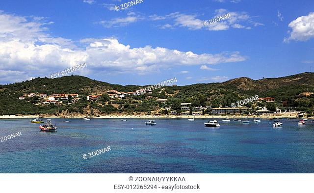 Ouranoupoli on coast of Athos in Greece