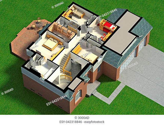 3D illustration of a furnished residential house, with the second floor, showing the staircase, bedrooms, bathrooms and walk-in closets and storage