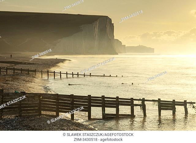 Autumn sunrise at Seven Sisters cliffs in East Sussex, England. South Downs National Park