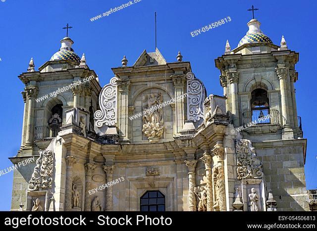 Basilica Towers Our Lady of Solitude Nuestra Senora Soledad Facade Church Oaxaca Mexico. Built in 1690