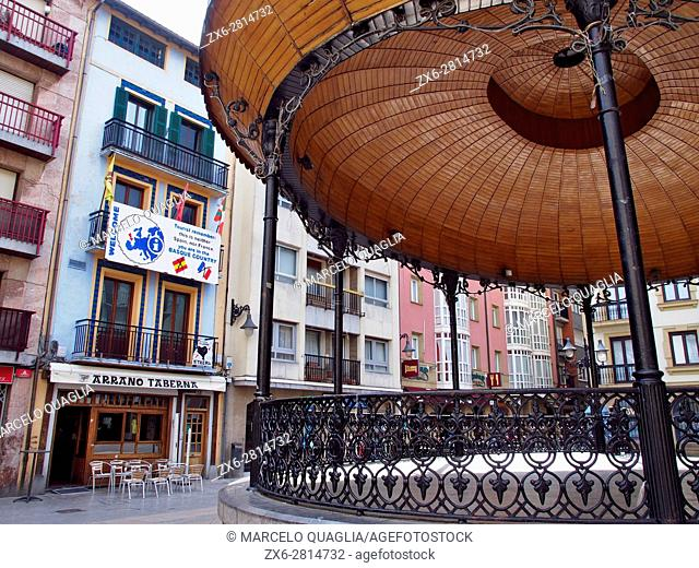 Musika Plaza (Music Square) at Zarautz old town center. Basque country. Gipuzkoa province. Euskadi, Spain