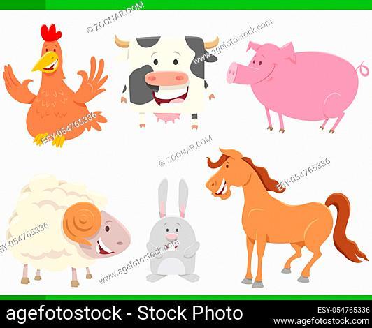Cartoon Illustration of Funny Farm Animal Comics Characters Set