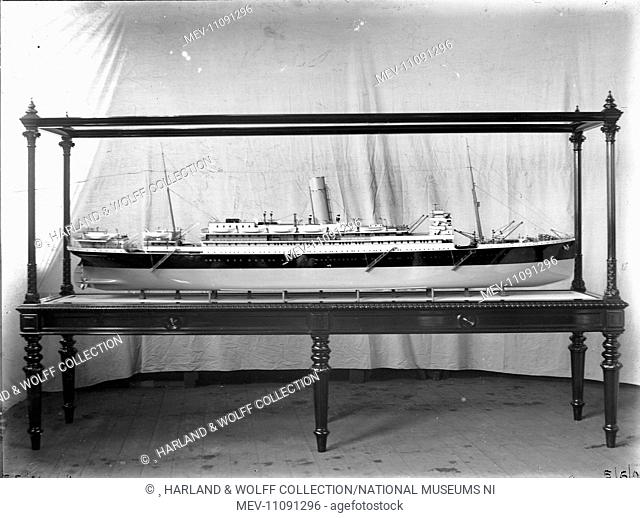 Starboard profile of cased builder's model. Ship No: 382. Name: Avon. Type: Passenger Ship. Tonnage: 11072. Launch: 2 March 1907