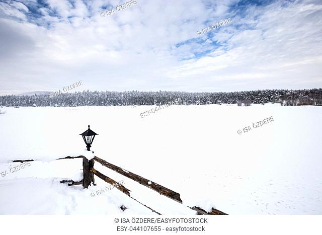 Winter landscape view with pine forest at a cloudy dull day. Fence and a small lamp on the foreground