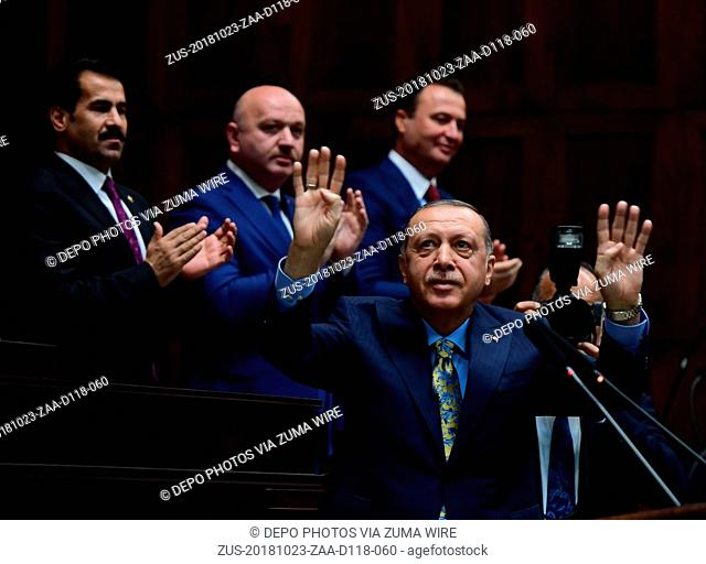 October 23, 2018 - Ankara, Turkey - Turkey's ruling party Leader and President RECEP TAYYIP ERDOGAN delivers his weekly speech to members of the parliament in...