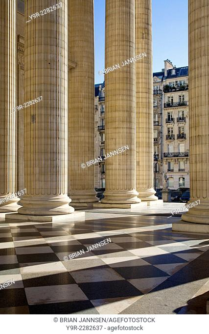 Columns along the front facade of the Pantheon, Paris, France