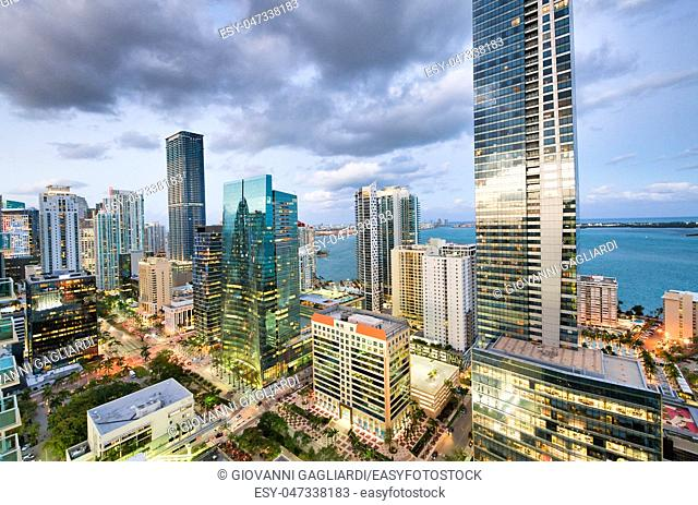 Amazing night skyline of Downtown MIami. Wide angle view of city skyscrapers on a cloudy morning