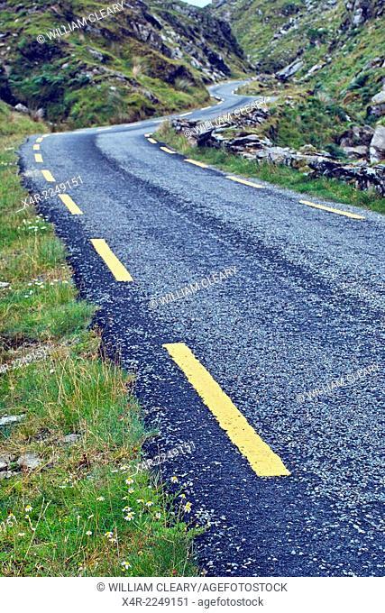 Narrow road through the Ballaghbeama Gap, County Kerry, Ireland
