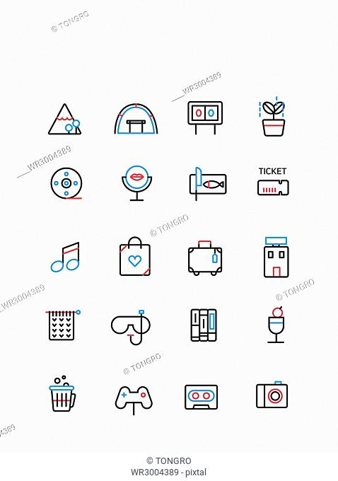 Set of various line icons related to hobby