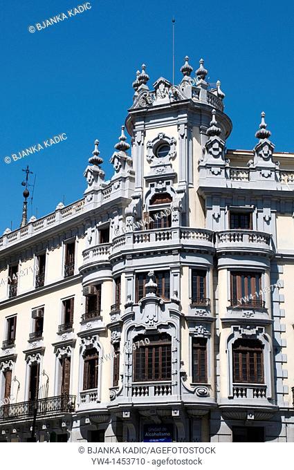 Monumental building on Gran Via street, Madrid, Spain