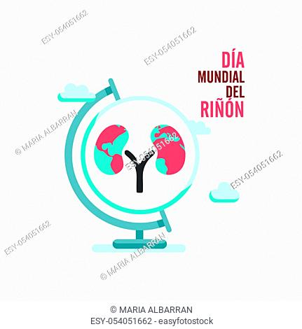 World kidney day with earth globe and clouds in spanish text. Isolated vector illustration