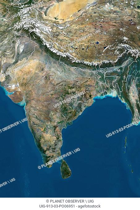 Satellite view of the Indian subcontinent (with country boundaries), showing India at center and boundaries of Jammu and Kashmir disputed areas in India