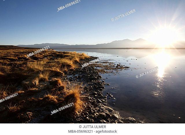 Chile, national park Nevado Tres Cruzes, Laguna Santa Rose, sunrise
