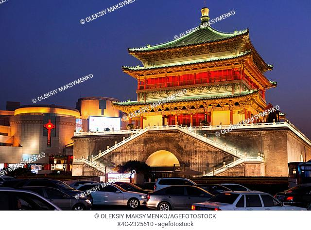 The Bell Tower at the city downtown at dusk, Xi'an, Shaanxi, China 2014