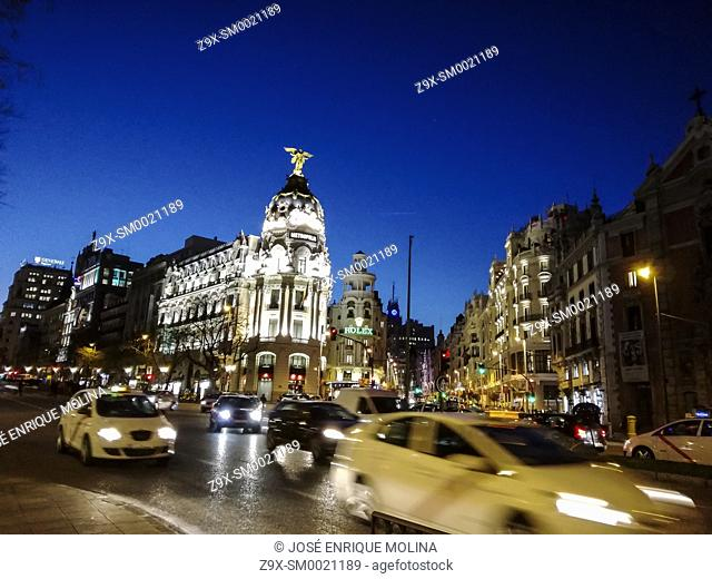 Gran Via avenue, Madrid city, Spain