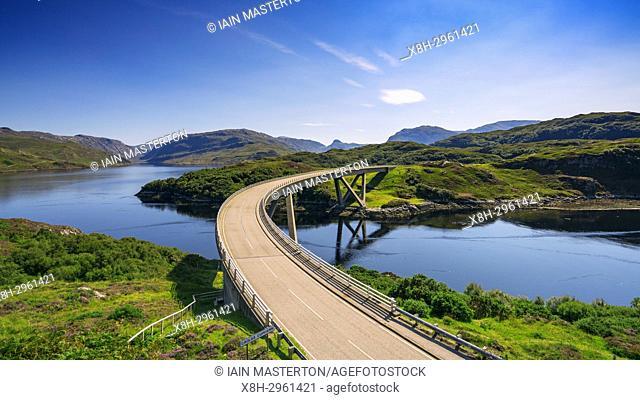 View of Kylesku Bridge on North Coast 500 tourist route in Sutherland, Highland, Scotland , UK