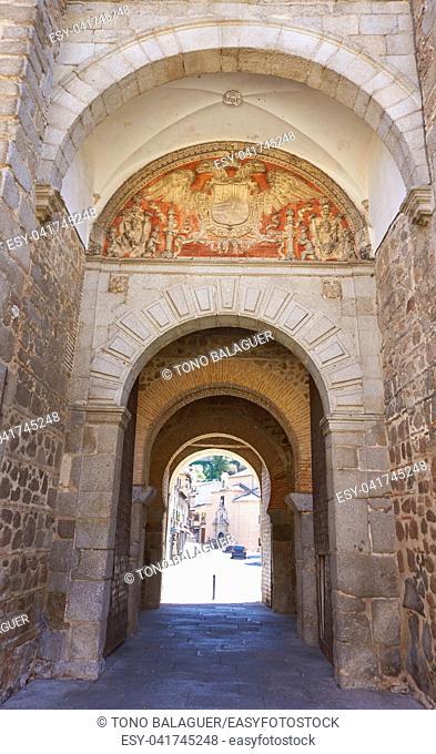 Toledo Puerta de bisagra in Castile La Mancha of Spain