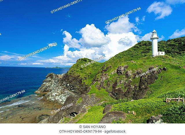 Uganzaki light house on the westernmost cape of Ishigaki island, the second largest island of the Yaeyama Island group, Okinawa prefecture, Japan