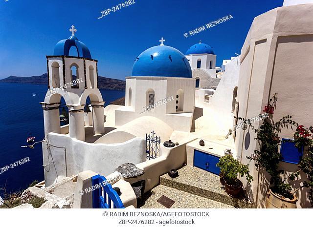 Greek Orthodox Church in Oia village, Santorini, Cyclades Islandes, Greece, Europe