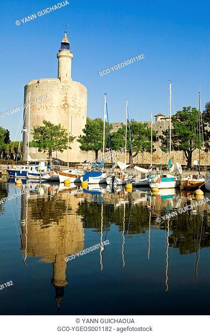 Aigues-Mortes's harbour,the Constance Tower, Aigues Mortes,Gard,France