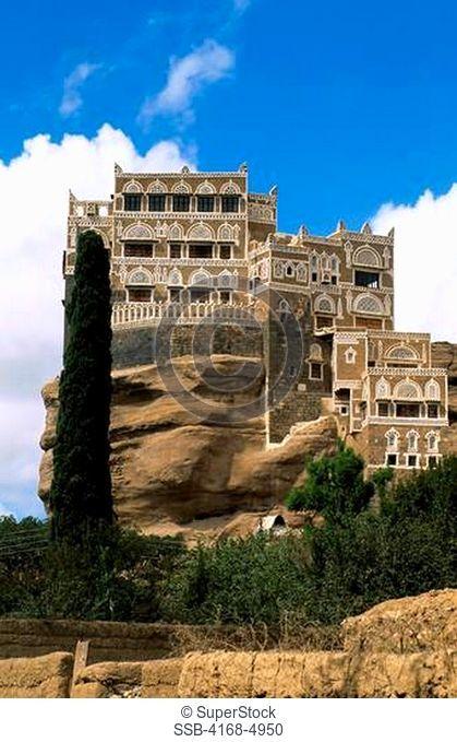 Yemen, Near Sana'a, Asir Mountains, Wadi Dhahr, Rock Palace