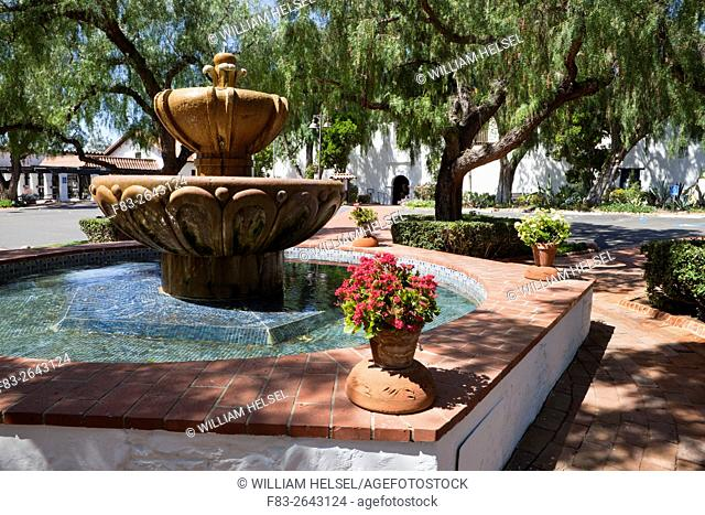 Fountain and pool in courtyard, Mission San Diego de Alcala, San Diego, CA, USA