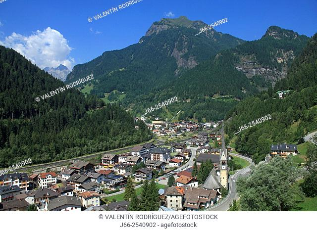 View of the village of Caprile in the Fiorentina valley. Italy
