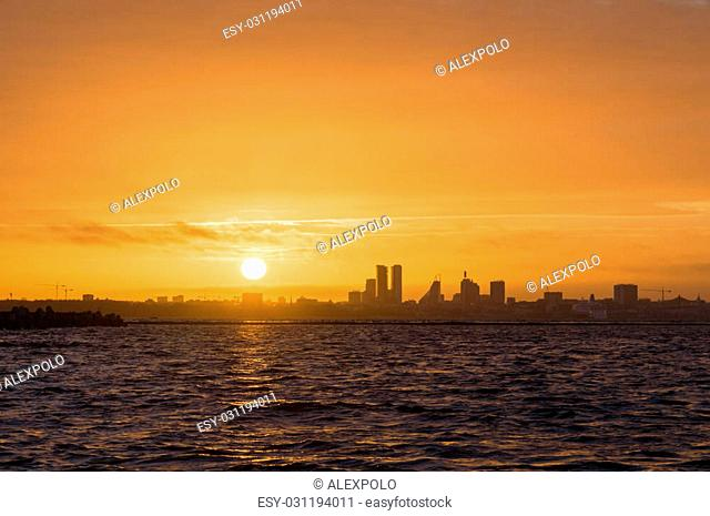 Silhouette of Tallinn city before sunset, Estonia