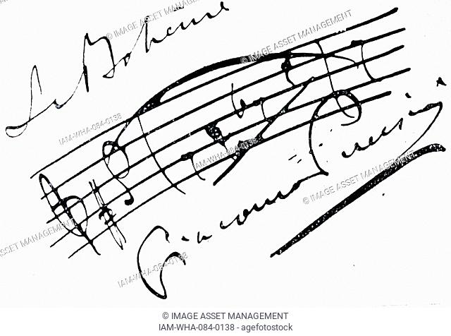 Autograph of Giacomo Puccini (1858-1924) an Italian composer. Dated 19th Century
