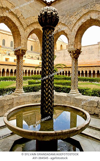 The arabo-norman cathedral and benedictine cloister in Monreale near Palermo, main city of Sicily. Italy