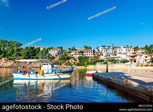 The port at Rousoum of Alonissos island, Greece