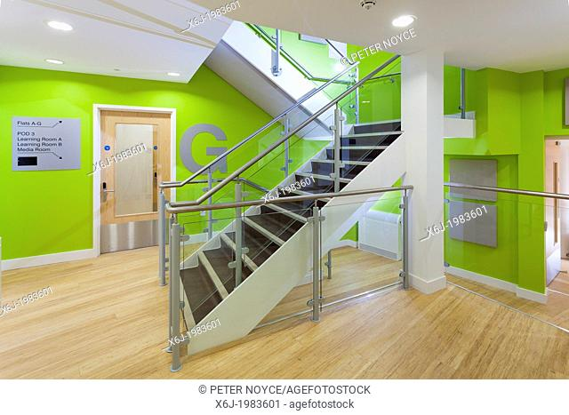 modern staircase at Damascus House and Emmaus House, Salisbury
