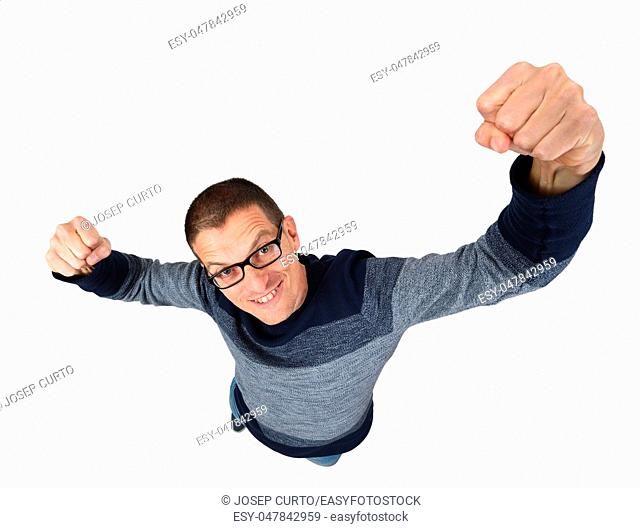 man doing strength on a white background