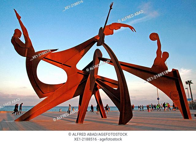 Sculpture 'Homage to Swim' by Alfred Lanz, 2004, promenade, Barcelona, Catalonia, Spain